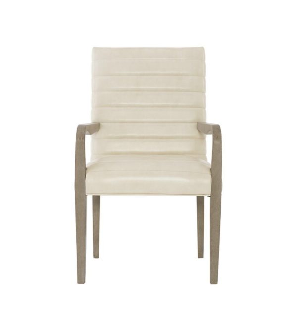 Mosaic+Leather+Upholstered+Solid+Wood+Arm+chair+in+Dark+taupe